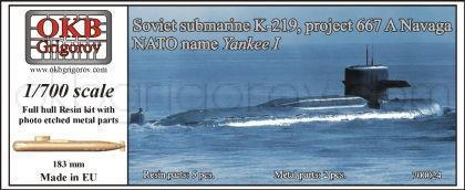 1/700 Soviet submarine K-219, project 667 A Navaga (NATO name Yankee I)