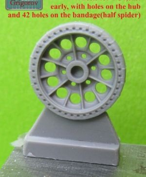 1/72 Wheels for T-34,cast, early, with holes on the hub and 42 holes on the bandage(half spider)