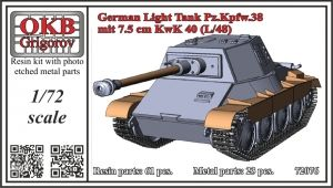1/72 German Light Tank Pz.Kpfw.38 mit 7.5 cm KwK 40 (L/48)